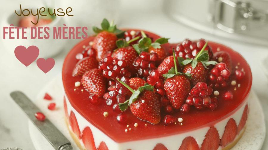 Coeur fraises/chocolat blanc fondant pour fêter les mamans
